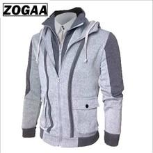 ZOGAA Winter Jacket Men Casual Double Zipper Two Tops Jackets Warm Cardigan Loose Plus Size Overcoat and Coats
