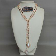 """5"""" культивированный розовый Кеши жемчуг смешанный цвет прямоугольник Cz проложить длинной цепи ожерелье"""