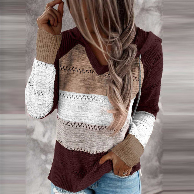 Autumn Women Patchwork Hooded Sweater Long Sleeve V-neck Knitted Sweater Casual Striped Pullover Jumpers 2020 New Female Hoodies 3
