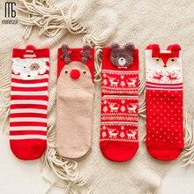 Manoswe/1 пара; женские рождественские носки; теплые зимние носки; Забавные милые дышащие носки; большие красные носки с изображением лося; хлопковые носки с животными