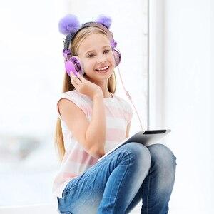 Image 4 - חמוד ילדה אוזניות רך lush כדור חתול Wired אוזניות עם מיקרופון נייד טלפון גיימר מוסיקה אוזניות עבור iPhone סמסונג LG
