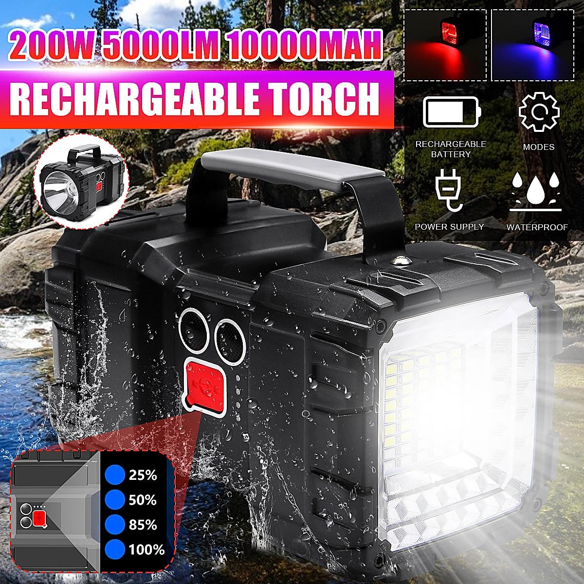 5000LM Super luminoso Potente USB HA CONDOTTO LA torcia elettrica di Ricerca torce lampada della luce di notte di Campeggio a mano lanterna batteria ricaricabile