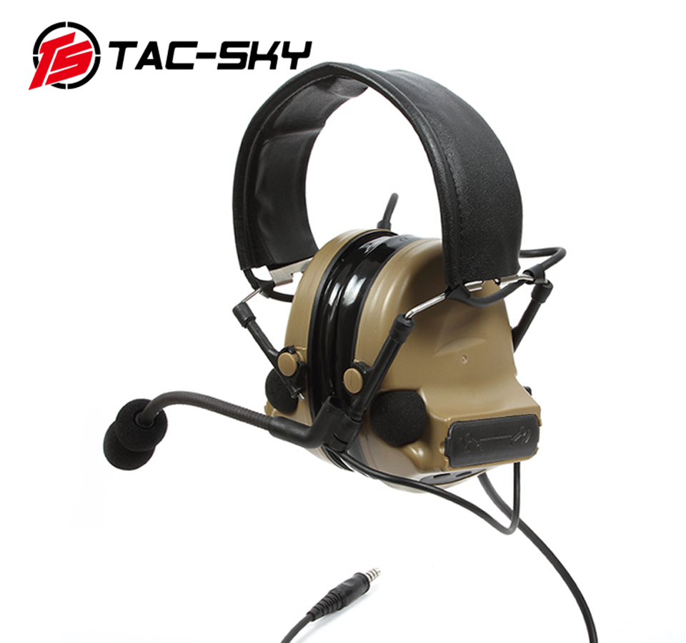 TAC-SKY COMTAC II Silicone Earmuffs Version Outdoor Tactical Headset Hearing Defense Noise Reduction Military Headphones DE