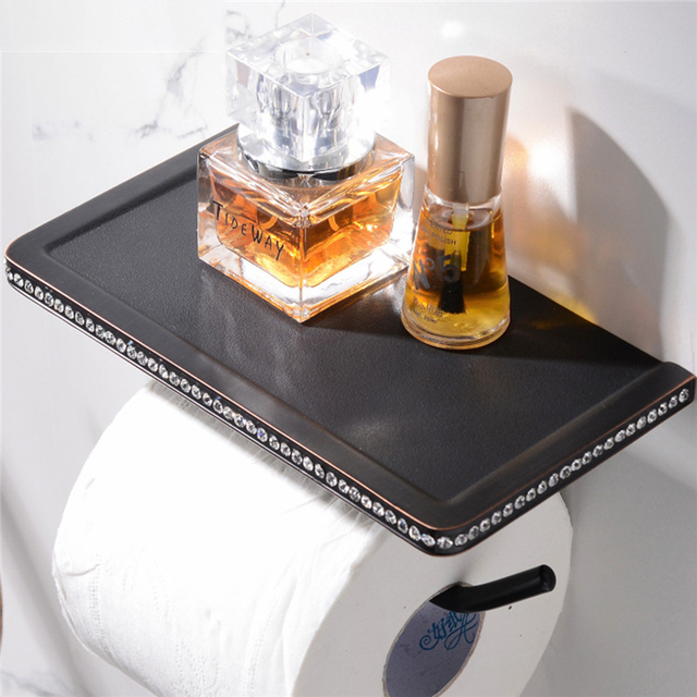 Wall Mounted Toilet Paper Holder with Shelf Bathroom Hardaware Roll Paper Holders With Phone Shelf 24K Golded Mirror Chromed ORB