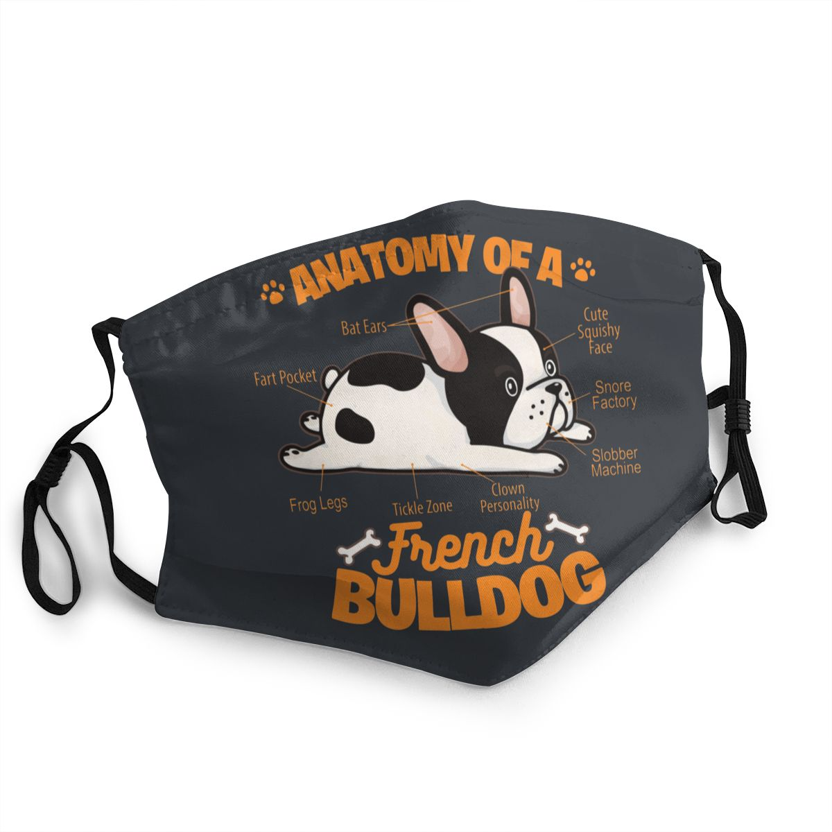 French Bulldog Unisex Non-Disposable Face Mask Anti Haze Dustproof Mask Protection Cover Respirator Mouth Muffle