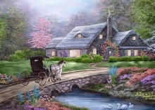 Diamond Painting Scenic Cross Stitch DIY Full Square Mosaic Diamond Embroidery Painting Full Display Sea House Home Decor Gift full house