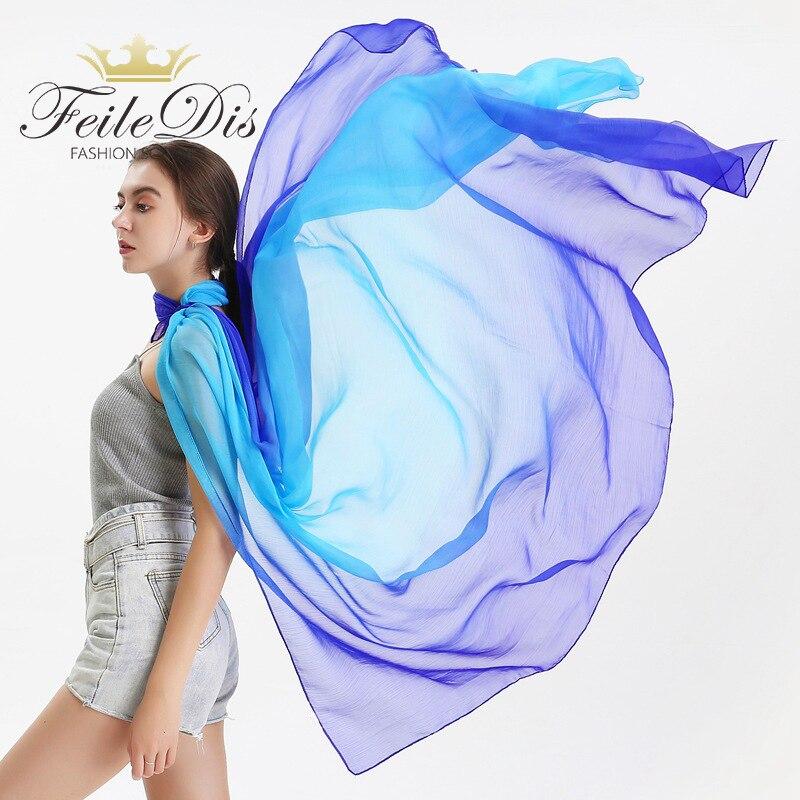 [FEILEDIS]2019 Summer Gradient Silk Scarf For Women/Ladies Fashion Long Shawls And Wraps Pashmina Scarves Foulard Soie 180*150CM