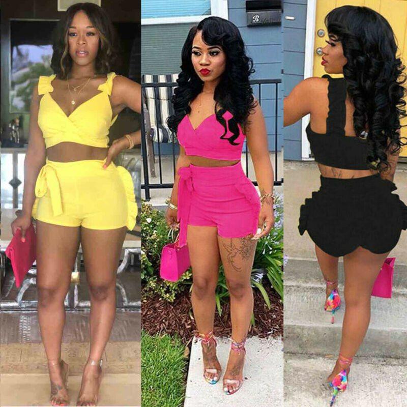 2Pcs Summer Women Bodycon Women's Sets Sexy Fashion Casual Solid Color Beachwear Lady Girls Sets 3 Colors 2019 New