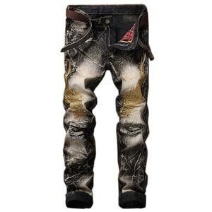 2020 Hot Sale Warm Jeans Men Embroidery Wings Design Man Jeans Zipper Fly Biker Jeans Men Ripped Jeans for Men Big Size 28-42