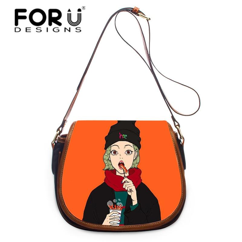FORUDESIGNS Pretty Cartoon Girl Saddlebags Casual StylishLadies Shoulder Bags Cross Body Handbag Women Messenger Bag Hasp