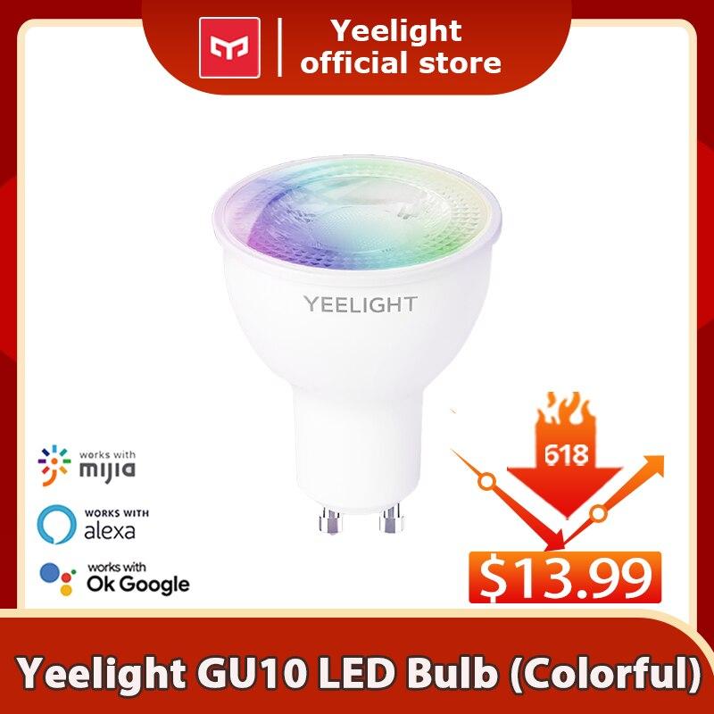 Светодиодная лампа Yeelight GU10 с регулируемой яркостью/Цветная умная Светодиодная лампа, цветная лампа 350 люмен, работа с приложением Yeelight, Google ...