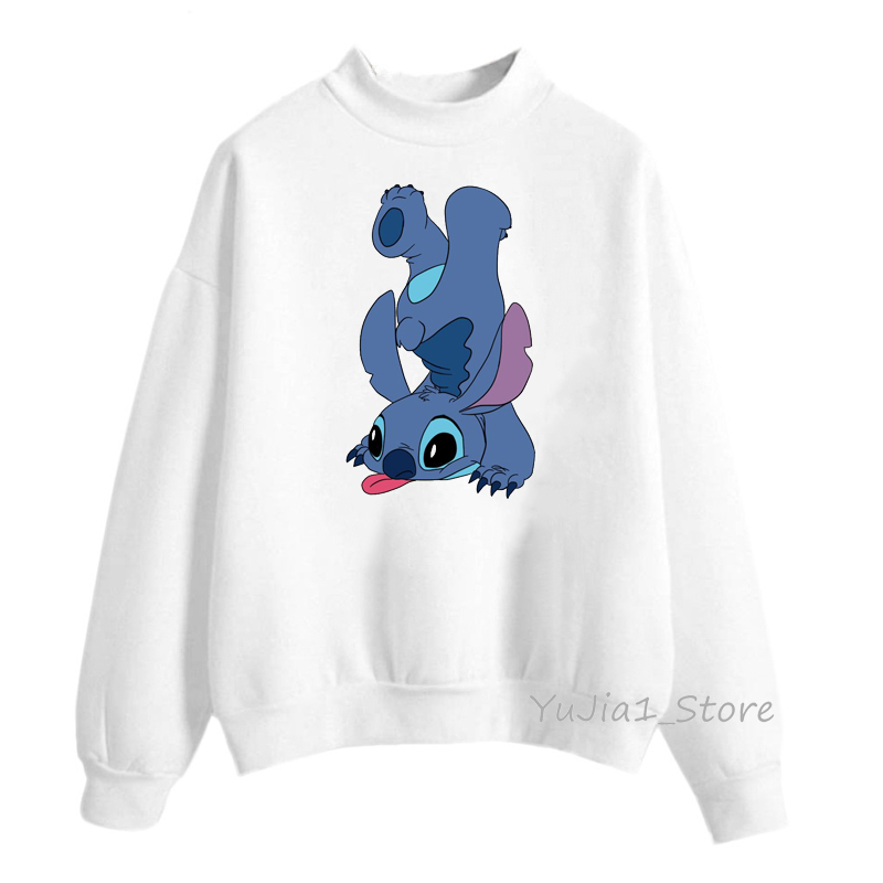 Cute Lilo Stitch print Funny Hoodies Women Winter Sweatshirts Harajuku Kawaii Top Clothes White Pullover Tracksuit Warm Hoody