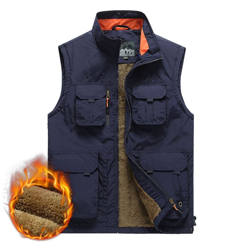 Large Size Multi-pockets Fleece Vests Men Autumn Winter Thick Warm Waistcoat Windproof Tactical Plus Size 6XL Sleeveless Jacket