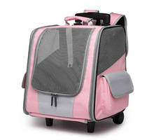 Travel Pet Wheel Carrier Dog Cat Transport Bag Rolling Luggage Backpack Travel Tote Trolley Bags for Dogs Stroller Drop Ship