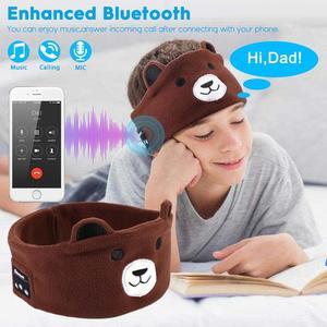 Image 2 - JINSERTA Cute Kid Bluetooth Headphone Sleep Mask Bluetooth 5.0 Stereo Music Player Support Handsfree Soft Headband for Phone
