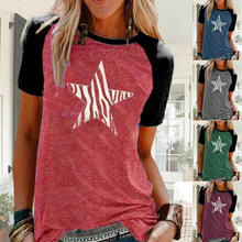 Cotton T Shirt Tops Women's Printed Short Sleeved Loose T Shirts Summer T Shirt Tops