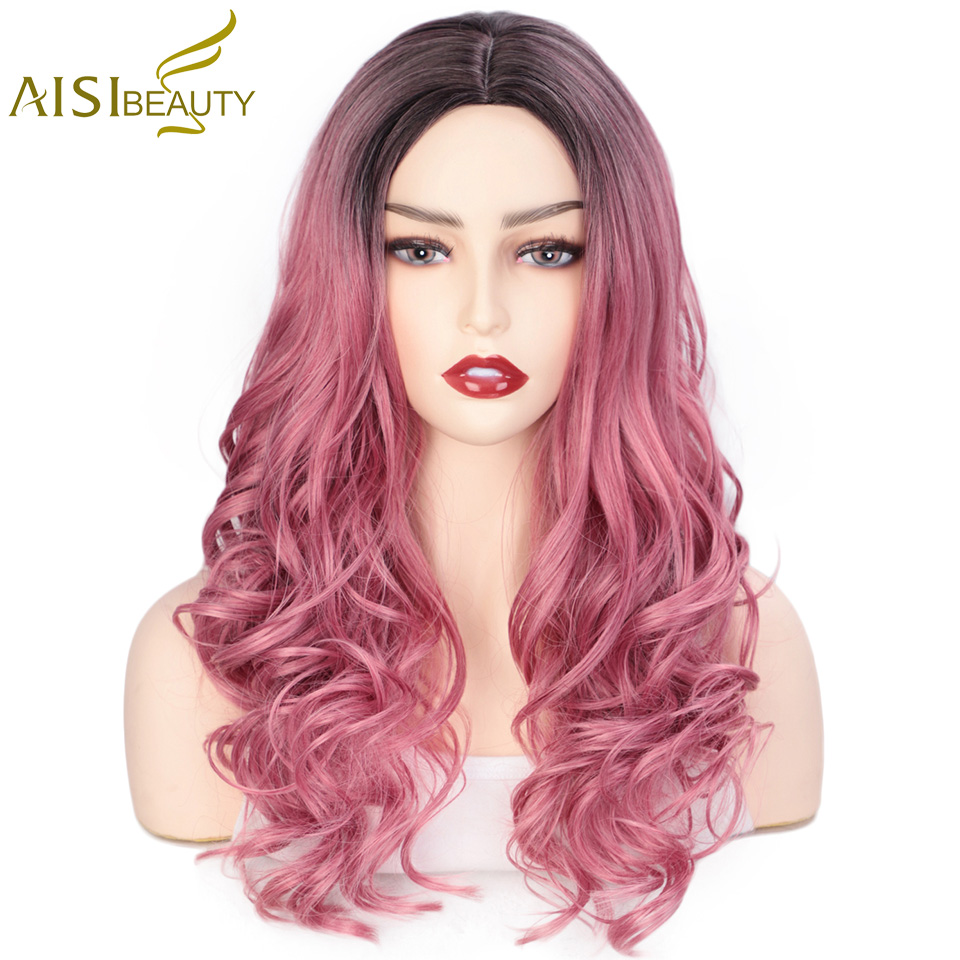 AISI BEAUTY Ombre Pink Long Wavy Wigs Blonde Brown Cosplay Synthetic Wigs For Women Glueless Hair Heat Resistant Black Gray Wigs