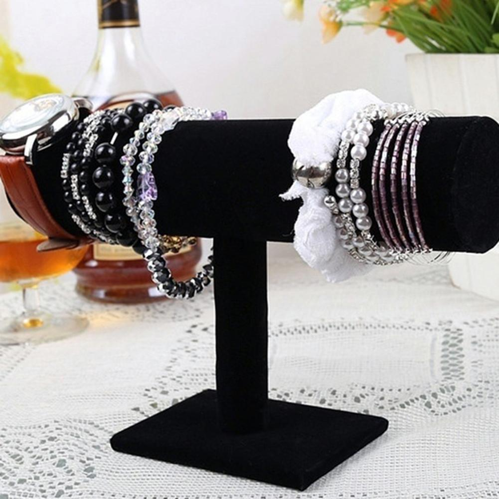 T-Bar Velvet Bracelet Bangle Watch Jewelry Organizer Display Stand Holder Rack Bracelet Stand Velvet Cloth Plate Bracelet Rack