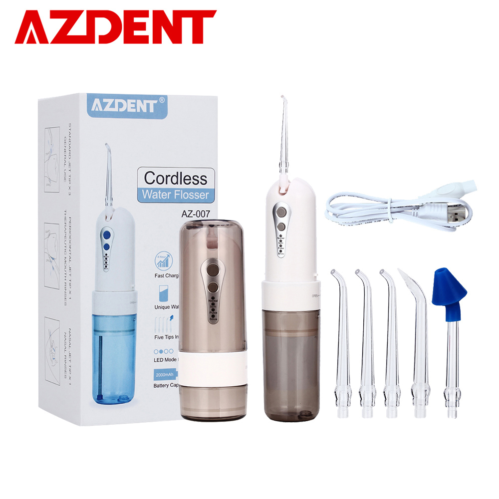 AZDENT Fashion 4 Modes Portable Fold Electric Oral Irrigator USB Charging Water Dental Flosser Rechargeable 200ml + 5 Jet Tips(China)