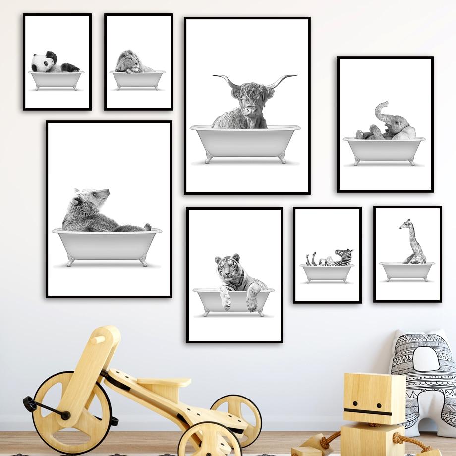 Bathtub animal Bathroom toilet Wall Art Print Canvas Painting Lion elephant zebra Nordic Poster Decor Pictures For Living Room