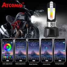 ATcomm H4 BA20D HS1 LED Motorcycle Headlight P15D Ph11 Moto Headlamp Spotlight LED Scooter DC/AC 12V APP control color DRL Lamp(China)