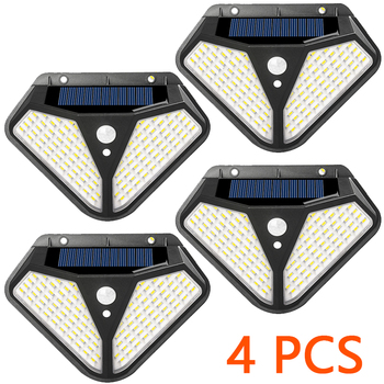 2side 102LED PIR Motion Sensor Solar Energy Street lamp 3 lighting modes Yard Path Home Garden Solar Power Induction Wall Light - 2-102LED - 4pcs, France