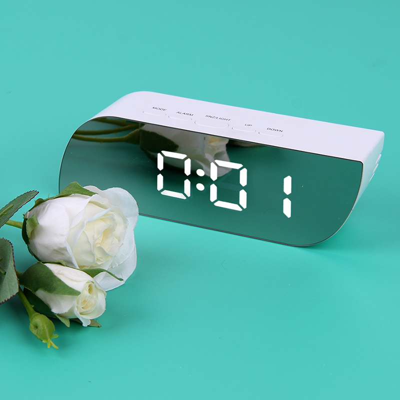Battery Operated Digital Mirror Alarm Clock with LED Display Used as Night Lights including Temperature Display and Snooze Function 2