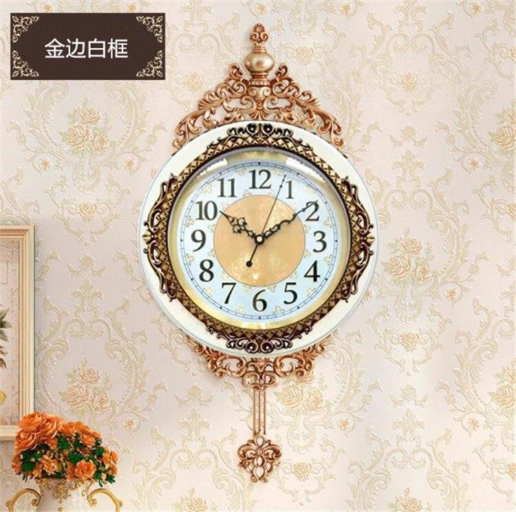 Vintage Large Luxury Wall Clock Pendulum Living Room Silent Creative Retro Clocks Bedroom Reloj De Pared Home Decor KK60WC