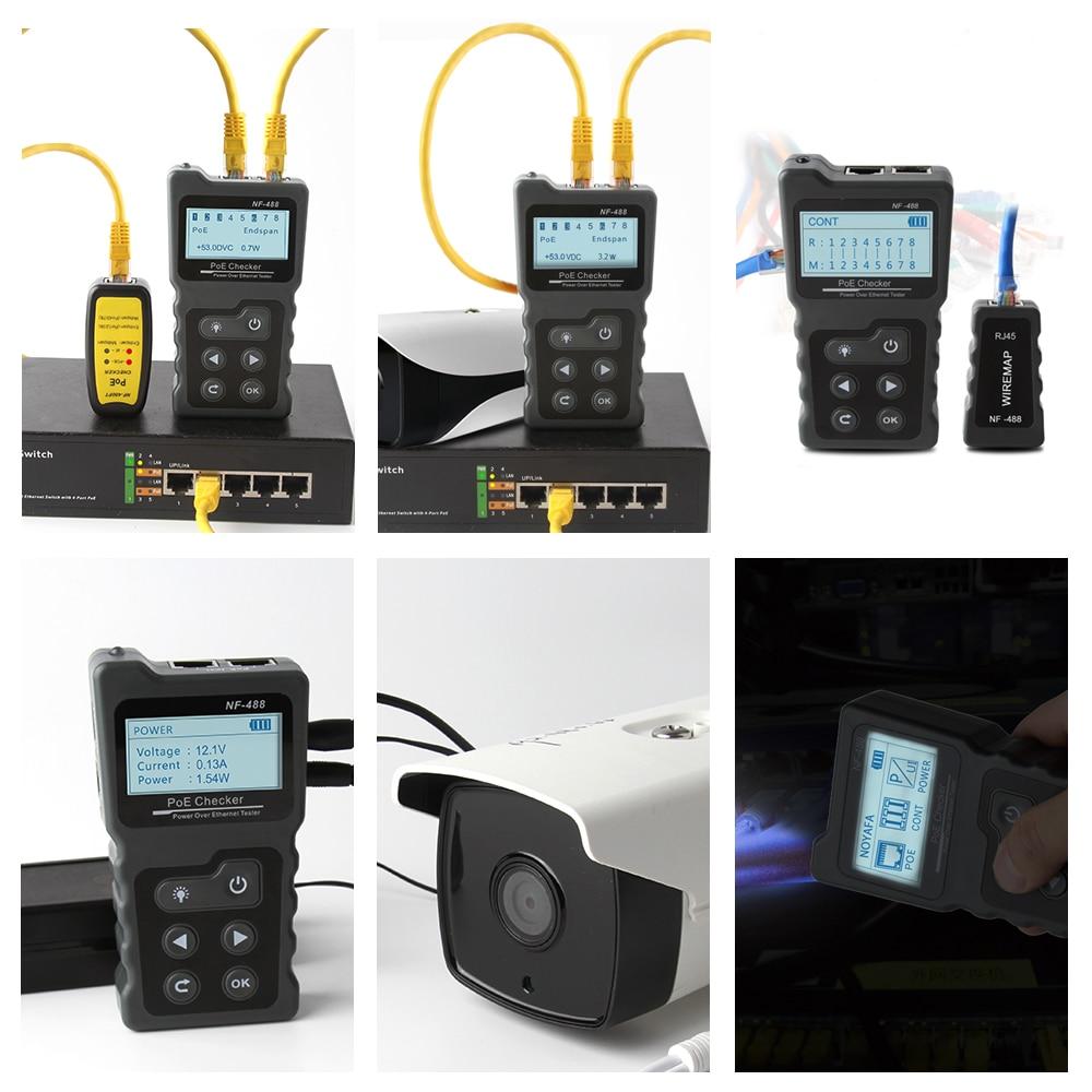 Noyafa NF-8209/NF-488 RJ45 Kabel Tracker Lan Tester Poe Ethernet Cat5 Cat6 Netwerk Gereedschap Lcd Maatregel Lengte 3