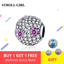 New arrival 100% 925 sterling silver luxury Full White&pink CZ Round Beads Charms Fit original Bracelet for Women DIY Jewelry