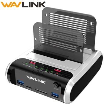 """Wavlink, Dual Bay, USB 3,0 a SATA, carcasa de disco duro, SATA HDD, estación de acoplamiento, HDD, Clone & UASP sin conexión para HDD SSD de 2,5 """"y 3,5"""""""
