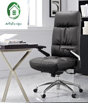 Prosty nowoczesny fotel wykonawczy skórzany fotel kierownika komputer krzesło obrotowe wysokim oparciem officehair rozkładany przerwa obiadowa pas wspierający tanie i dobre opinie CN (pochodzenie) Fotel dyrektora Fotel z podnoszonym siedzeniem Prawdziwej skóry