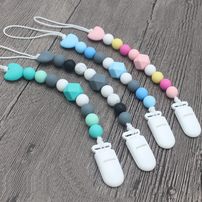 Silicone Teething Baby Nursing Bracelet BPA Free Pacifier Clips Beads Silicone Pacifier Chain Holder For Nipples Baby Chew Toys