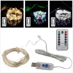 5M 10M USB LED Holiday Fairy Lights Waterproof LED Silver Wire String with Remote for Christmas Party Wedding Decoration