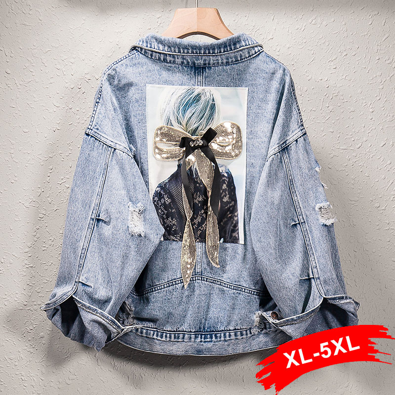Plus Size Harajuku Sequins Beauty Applique Jeans Jacket 3XL 4XL 5XL Korean Frayed Casual Jean Outwear Streetwear Denim Coat