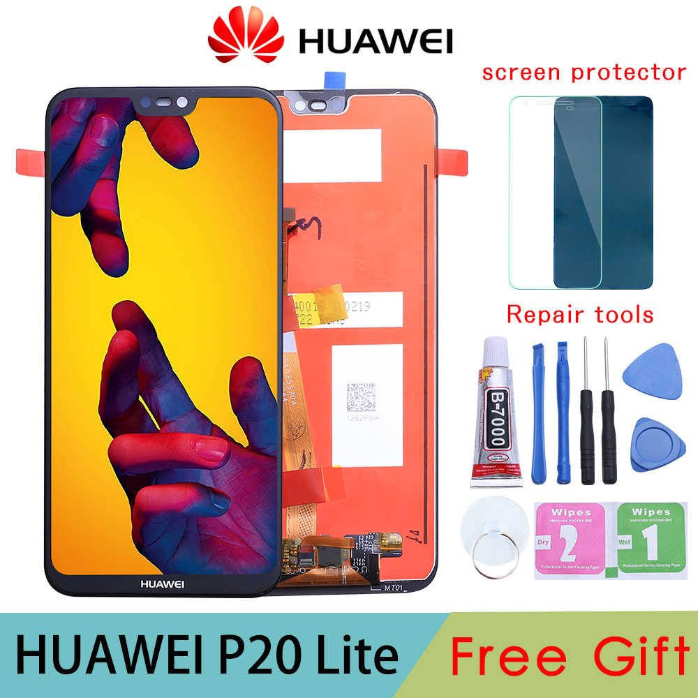 "5.84 ""2280X1080 IPS Display untuk Huawei P20 Lite LCD Touch Screen Replacement dengan Bingkai Asli LCD P20 lite Ane-lx3 Nova 3E"