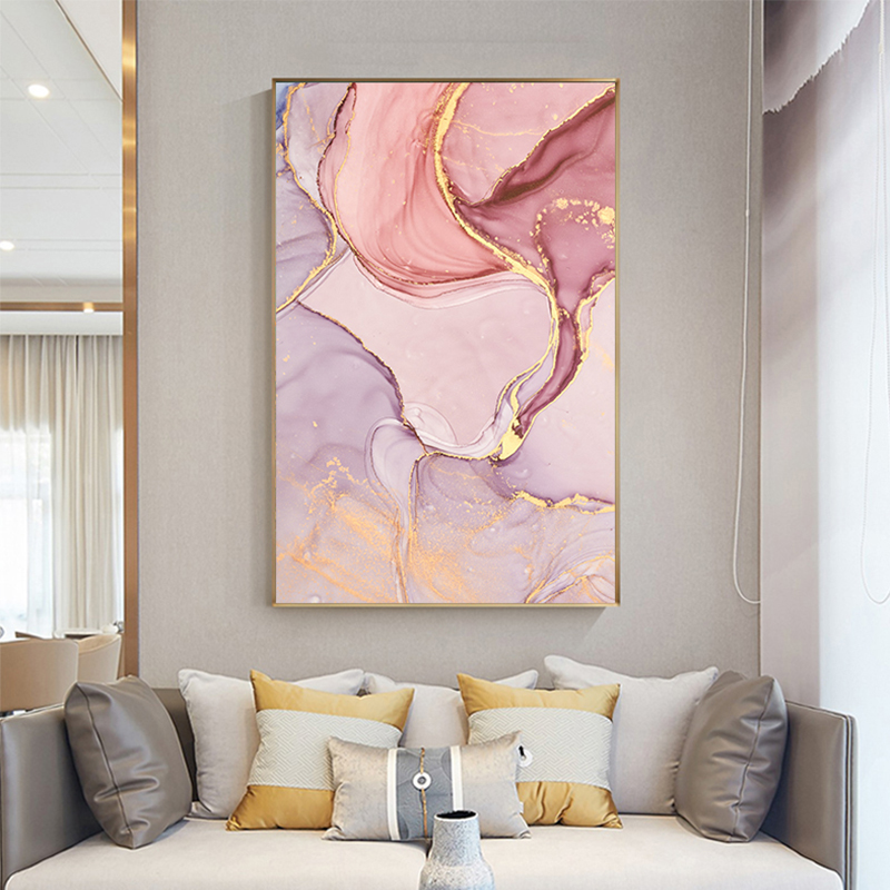 Painting Modern Wall-Picture Pink Canvas Print Abstract Living-Room Purple Gold Nordc title=