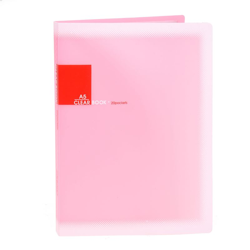 Plastic A5 Paper 20 Pockets File Document Folder Holder, Pink