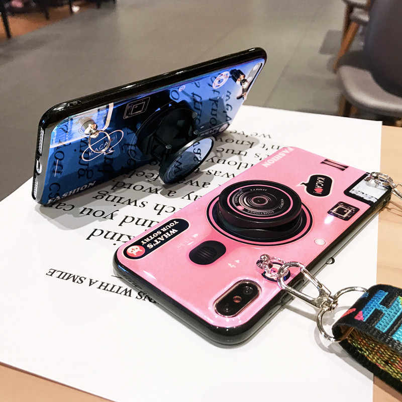 Ốp Lưng Điện Thoại Cho Iphone X XS XR XS Max Mềm Mại Thời Trang Ốp Da Có Dây Đeo Đứng Trường Hợp Cho iPhone 7 6 6 S 8 Plus Capa Konsmart