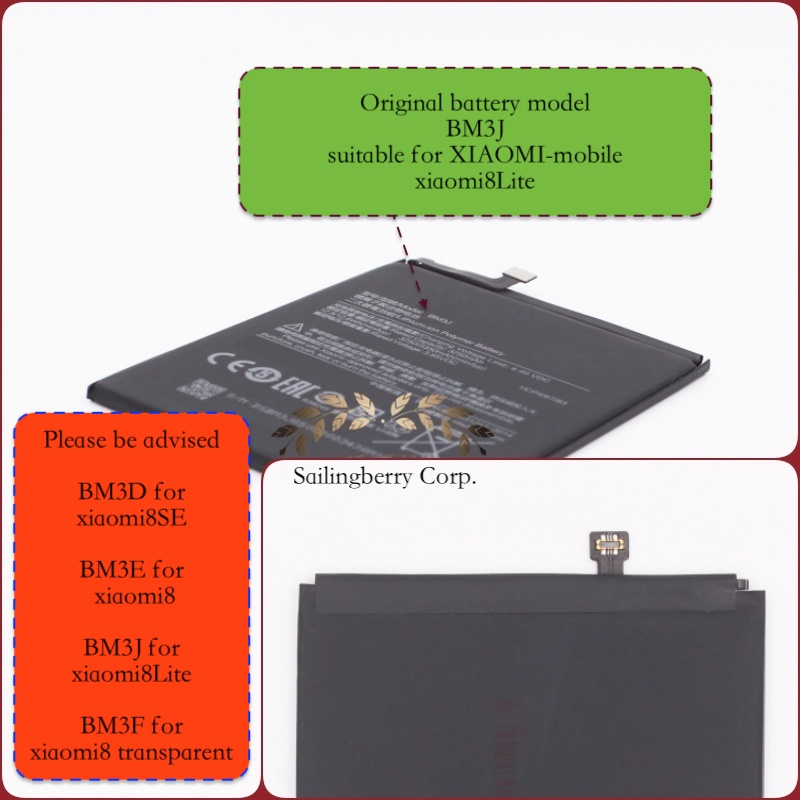 Original battery suitable for xiaomi8Lite / MI8Lite with battery model BM3J(It is safe to check before placing order image
