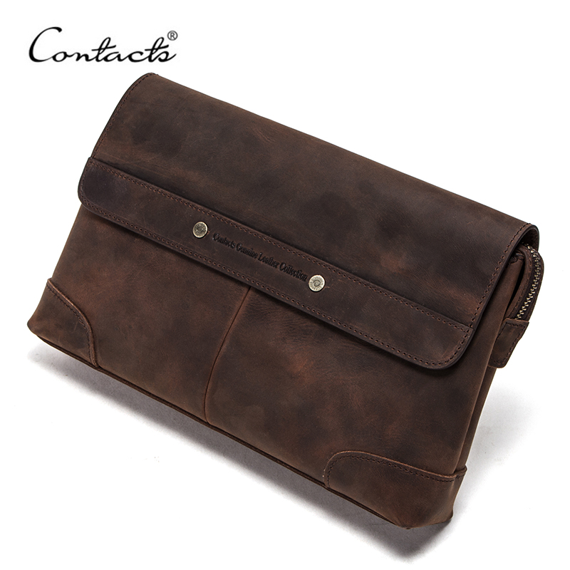 CONTACT'S Travel Men Clutch Bags Crazy Horse Leather Long Wallet Men Large Capacity Handy Bag Phone Pocket Male Purse Carteiras