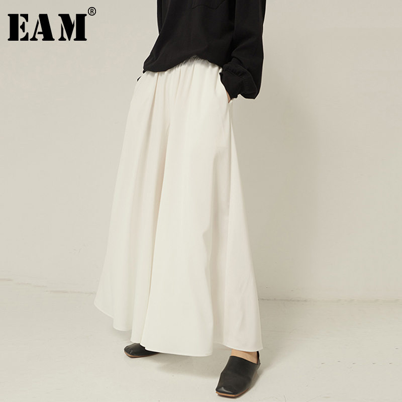[EAM] High Elastic Waist White Brief Temperament Wide Leg Trousers New Loose Fit Pants Women Fashion Spring Autumn 2020 1R163