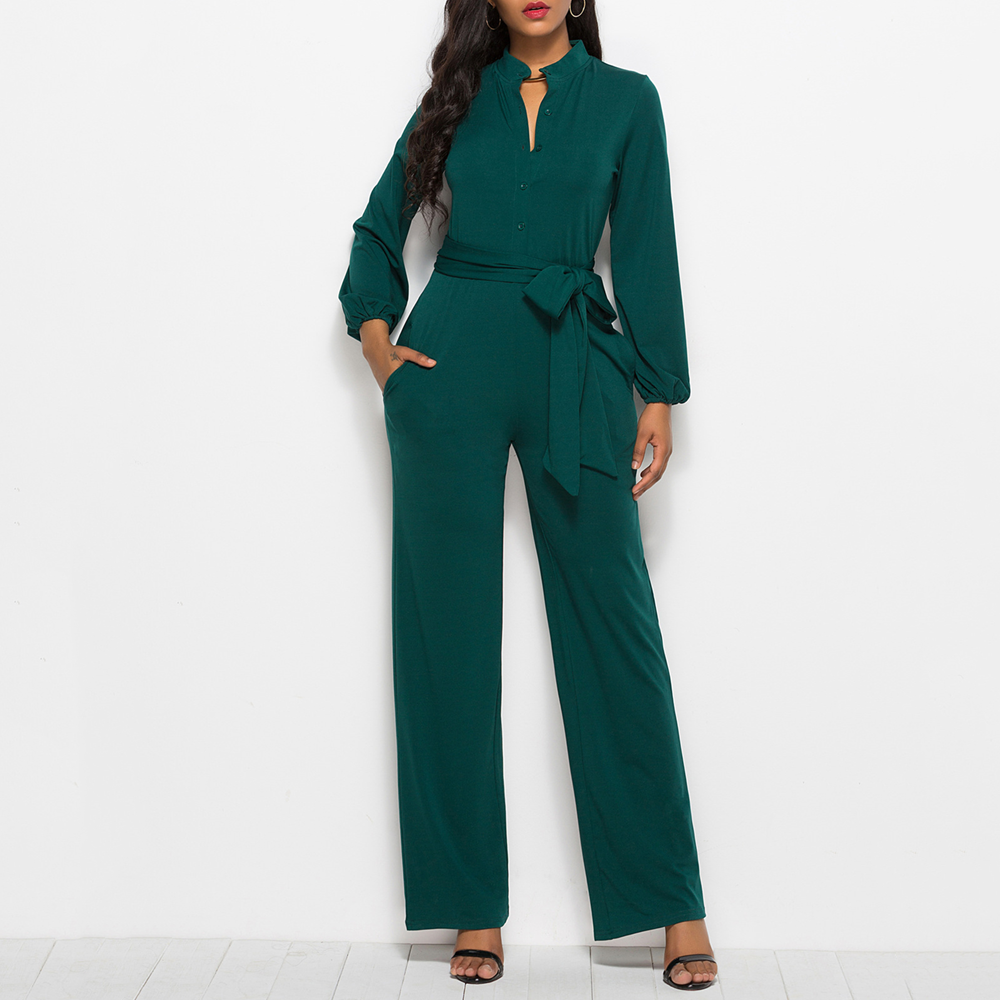 Women Jumpsuits Long Sleeve Female Rompers Jumpsuits Overalls For Women Solid Autumn Bodysuits Sashes Wide Leg Pants Robe Mujer