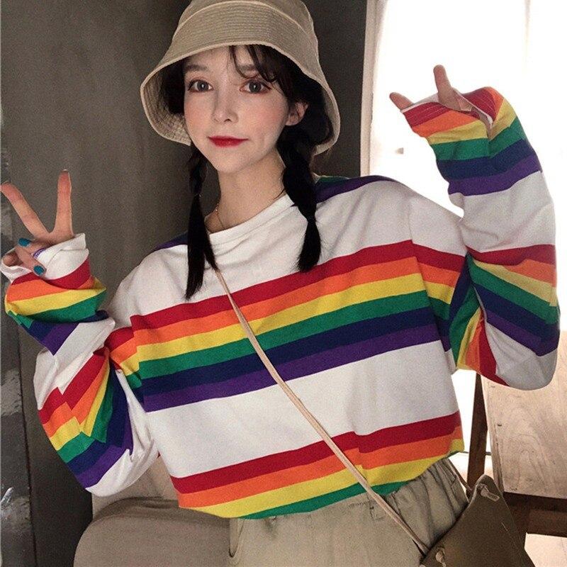 121.67грн. 28% СКИДКА|Женская футболка с длинными рукавами и круглым вырезом; свободная посадка; сезон осень весна; радужные полосатые базовые футболки; топы|Футболки| |  - AliExpress