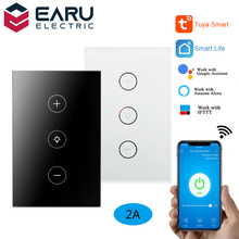 US WiFi Smart Glass Panel Wall Touch Switch Light Dimmer Switch Smart Life Tuya APP Remote