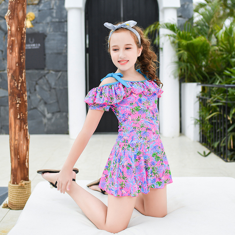 2019 New Style Hot Sales KID'S Swimwear Off-Shoulder Bow Dress Triangle Floral-Print Little Princess GIRL'S Swimsuit