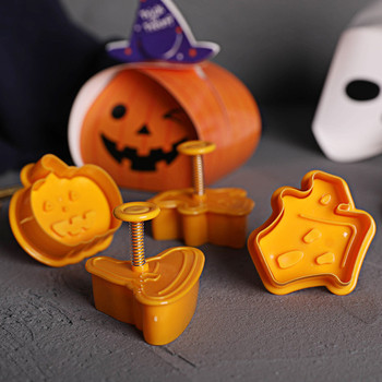 4pcs/set Halloween Cookie Stamp Biscuit Mold 3D Cookie Plunger Cutter DIY Baking Mould Halloween Cookie Cutters For Kitchen Tool image