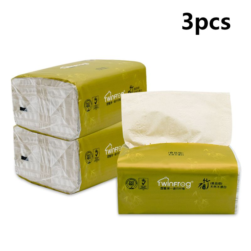 3 Bags 3-Layers Extractable Toilet Paper Soft Bamboo Pulp Pumping Tissue Napkin T4MB