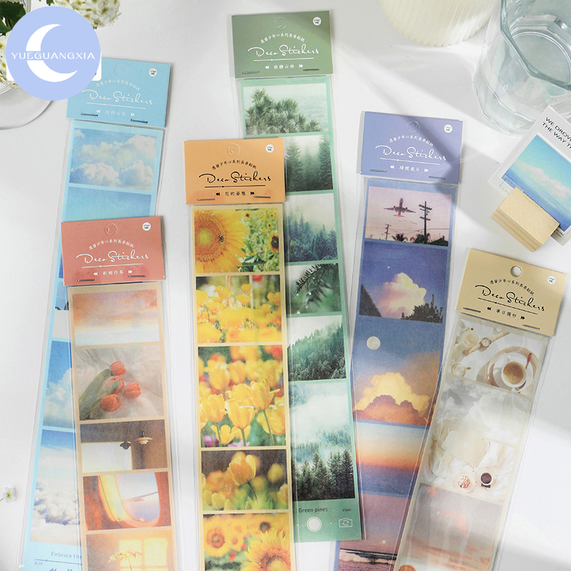 YueGuangXia 6 Design 1Pcs Long Sight Album Back Laptop Scooter Scrapbooking Planner Cycle Natural Decorative Stationery Stickers