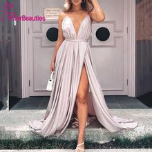 Женское вечернее платье с блестками Длинное Элегантное разрезом